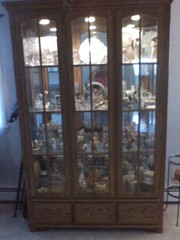 oak hutch/buffet,  double pedestal table,  curio cabinet
